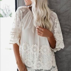 Vici Embroidered Lace Blouse-Cream